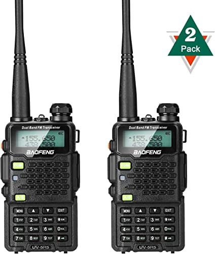 BaoFeng 2-Pack Upgrade UV-5R5 2 Way Radio, VHF UHF Dual-Band Walkie Talkie, Extended 7 inches Antenna Including ,Larger Battery,7.4v 5W More Stable Speaking Distance