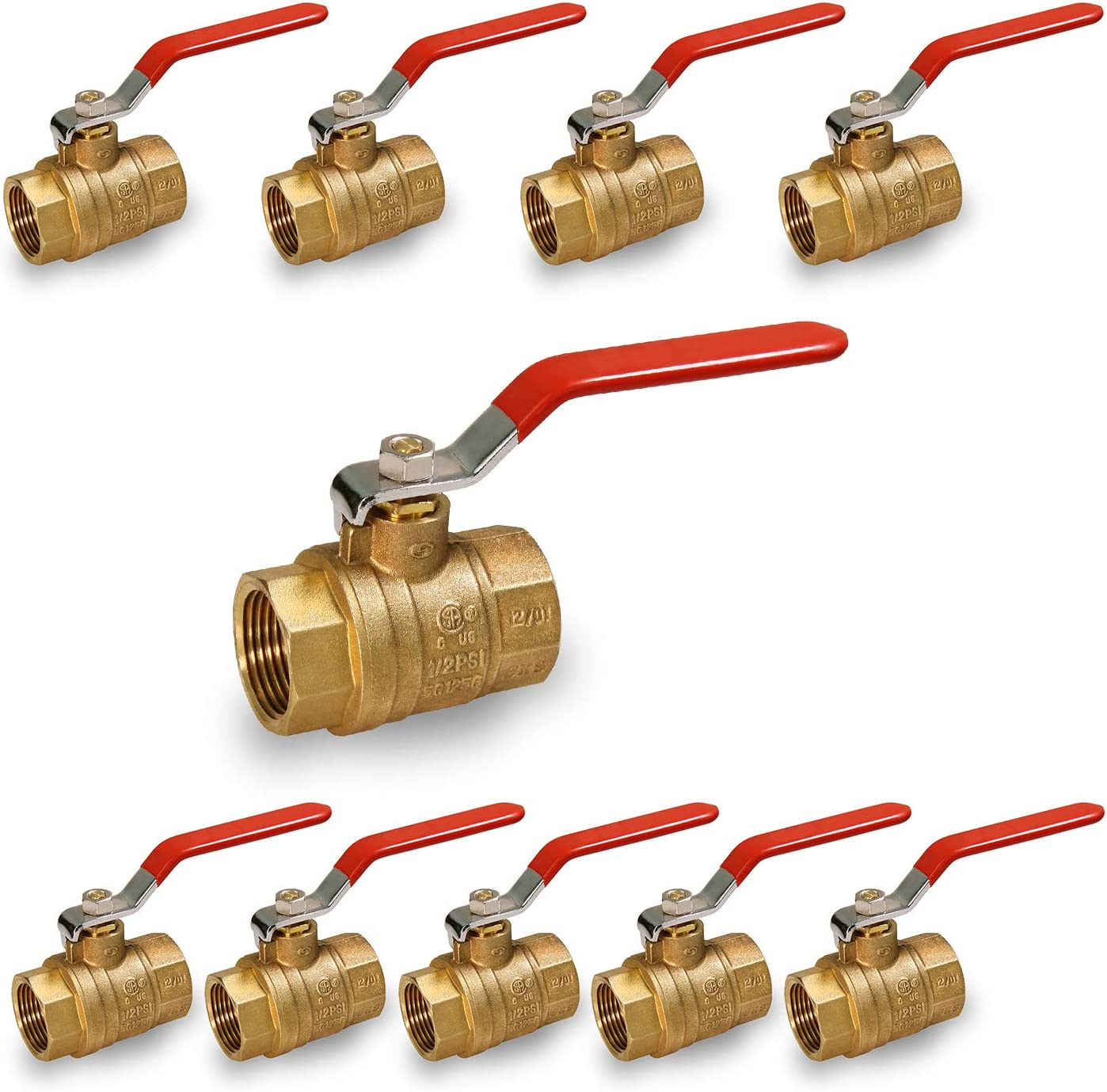FIP Connections Midline Valve 522T234-10 Premium Brass Gas Ball Valve with 1//2 in 10 Pack