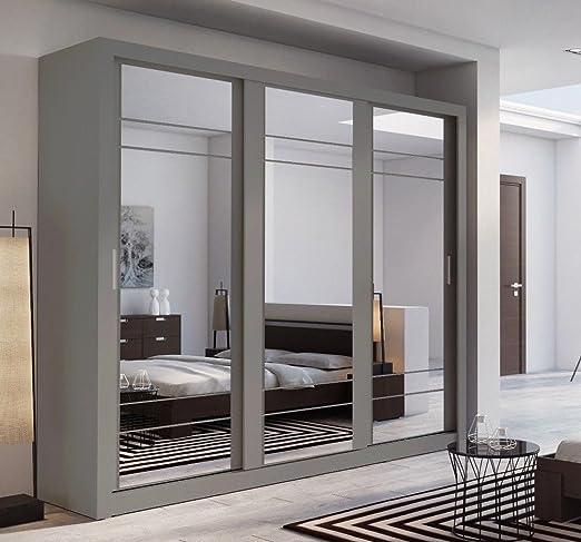 Arthauss - Armario de puerta corredera con espejo para dormitorio, diseño moderno, 250 cm, color gris: Amazon.es: Hogar