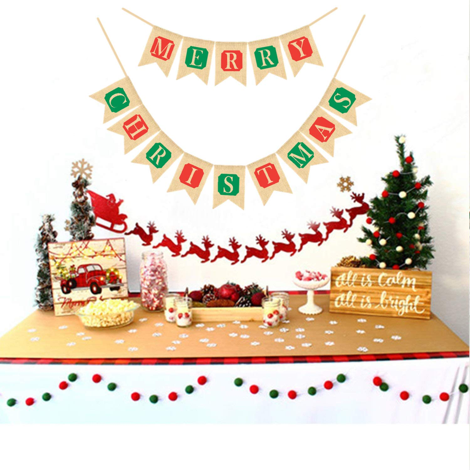Merry Christmas Burlap Banners Garlands for Fireplace Christmas Tree for Xmas Decoration Party Indoor Outdoor Family Photo Props