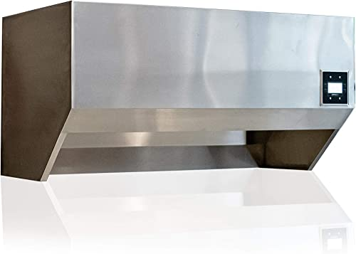 Stainless Steel Wall Mounted Residential Exhaust Hood with built in integral variable speed exhaust fan, factory pre-wired electrical controls, and dimmable LED lights. 72 Long Hood
