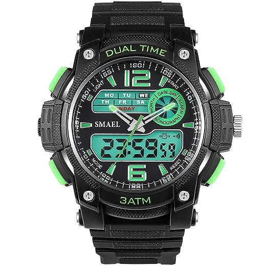 AnazoZ Reloj Deporte Reloj de Doble Pantalla Reloj Hombre Moda Relojes Electronicos Reloj Impermeable Reloj de Estudiante Verde: Amazon.es: Relojes