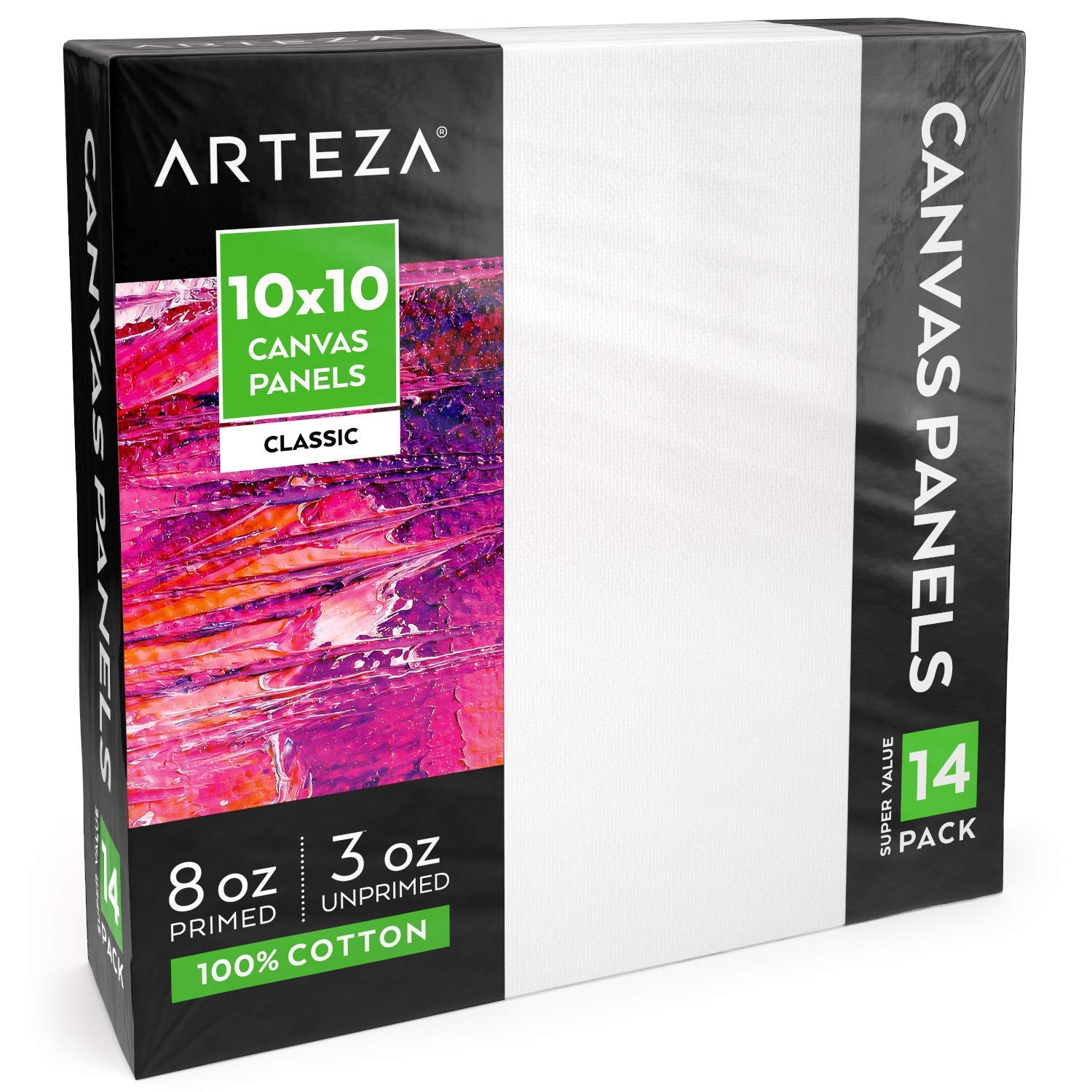 """Arteza 10x10"""" White Blank Canvas Panels Boards, Bulk Pack of 14, Primed, 100% Cotton for Acrylic Painting, Oil Paint & Wet Art Media, Canvases for Professional Artist, Hobby Painters & Beginners"""