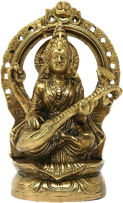 Brass Statue of MATA Saraswati Murti Sculpture Goddess of Learning ...