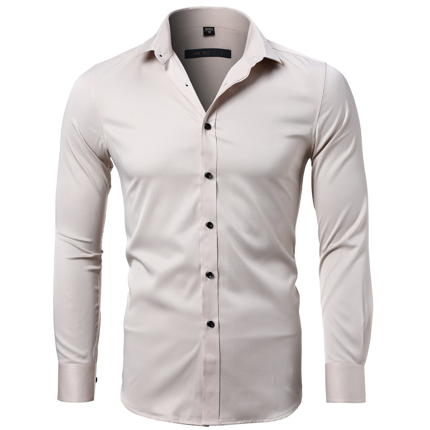 95b3a8ce Harrms Men's Dress Shirts Long Sleeve Formal Shirts for Men Bamboo Fiber  Slim Fit Solid Casual Button Down Shirts, Elastic,15 Colors