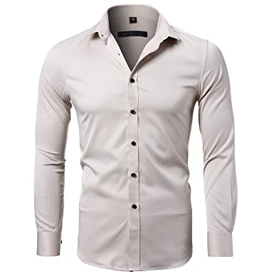 8621ebff1127 Bamboo Fiber Mens Dress Shirts Slim Fit Solid Casual Button Down Shirts for  Men,Beige