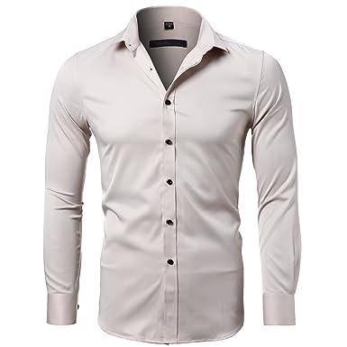 3b549ba7d Harrms Men's Dress Shirts Long Sleeve Formal Shirts for Men Bamboo Fiber Slim  Fit Solid Casual