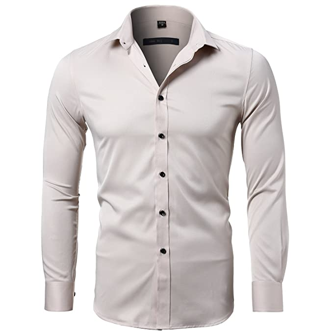 662076272d126a Harrms Men s Dress Shirts Long Sleeve Formal Shirts for Men Bamboo Fiber  Slim Fit Solid Casual