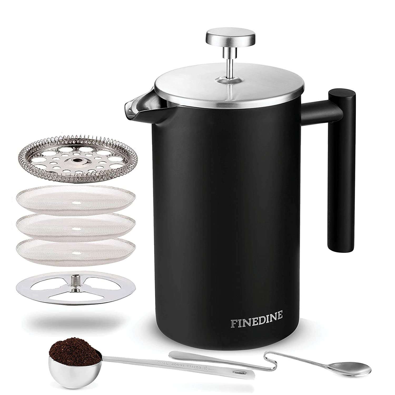 Finedine French Press Coffee Maker – 34-Oz 18 8 Stainless Steel Double Wall Insulated Retains Heat Longer – Triple-Screen Grounds Filter System, Sleek Matte Black, Extra Filter Components Included