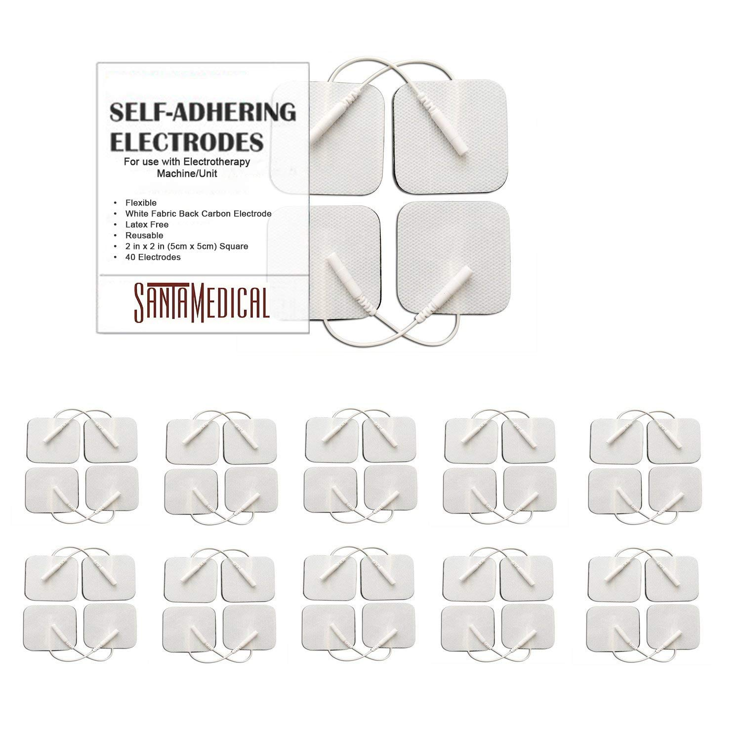 TENS Unit Pads Electrodes 2x2 40 Pcs Replacement Reusable Premium Pads Electrode Patches for Electrotherapy - Non Irritating Design by Santamedical
