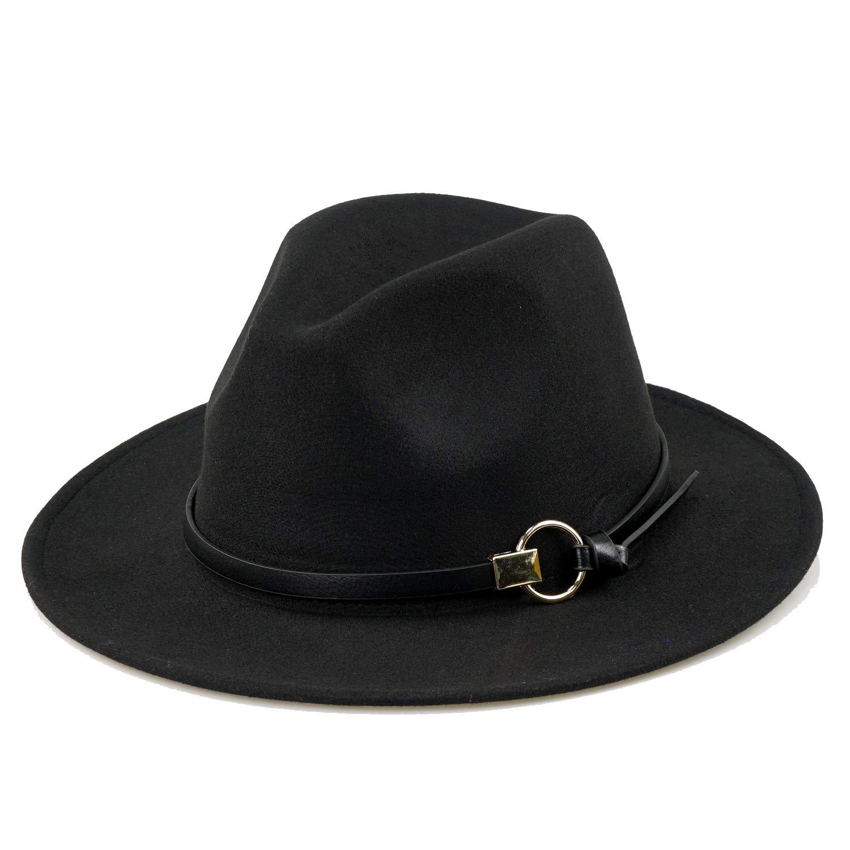 7c22272bf1069 Women Black Fedora Hat Gold Stylish Belt Buckle Wool Felt Floppy Panama Hat  at Amazon Women s Clothing store