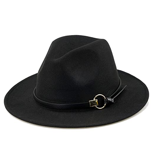 b444b29bb5d Women Black Fedora Hat Gold Stylish Belt Buckle Wool Felt Floppy Panama Hat