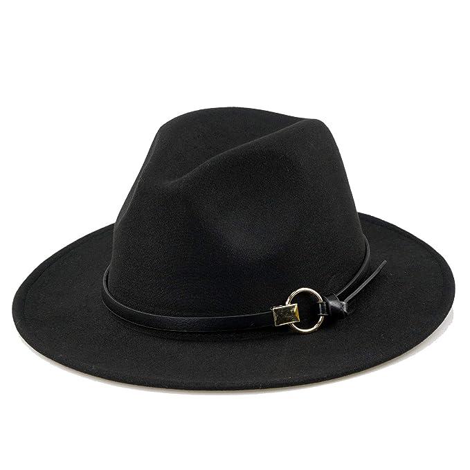 Women Black Fedora Hat Gold Stylish Belt Buckle Wool Felt Floppy Panama Hat ba715e840d95