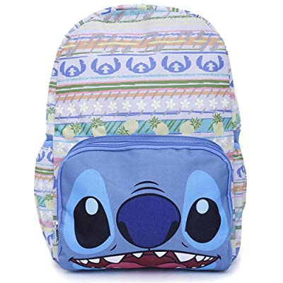 Disney Lilo and Stitch Large Backpack White Aloha Hawaiian Blue Stitch Face Bag | Kids' Backpacks