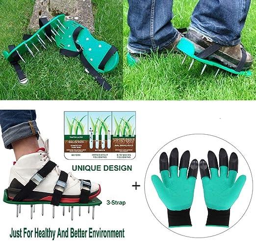 Z@SS Jardín Yarda Cultivador de Hierba Escarificador de césped Herramienta de Zapatos de Clavo aireador con Guantes: Amazon.es: Hogar