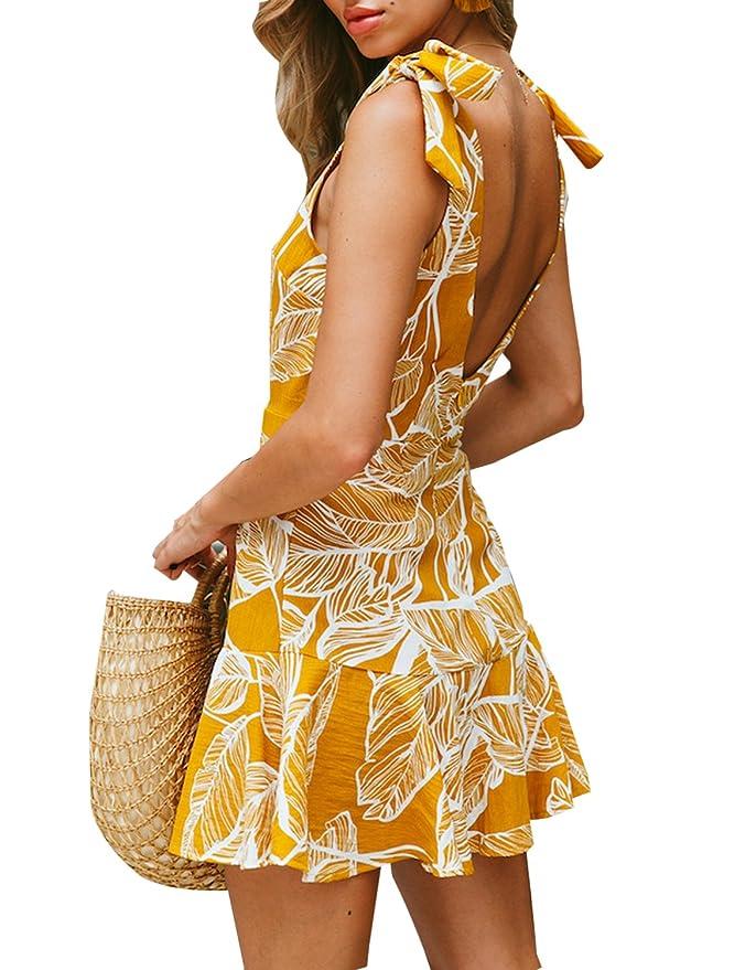 c60d03a6126 BMJL Women s Zipped Floral Sleeveless Slim Backless A Line Slip Ruffle Tie  Short Mini Dress at Amazon Women s Clothing store