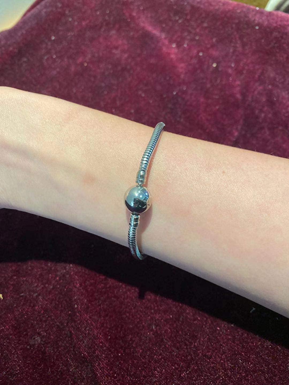KunBead Bracelet cha/îne Serpent en Acier Inoxydable pour Charms Femme Fille Maman Cadeau danniversaire