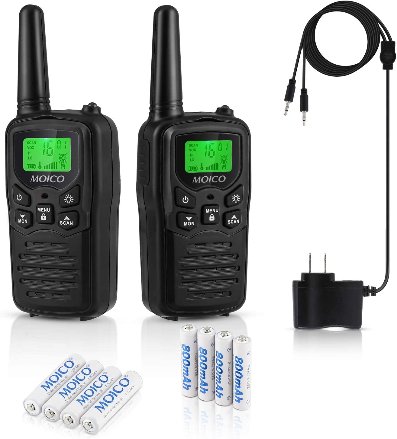 Professional Rechargeable Walkie Talkies,MOICO Long Range Two Way Radios for Adults up to 5 Miles in Open Area,Handheld Talkies Talky with 22Channels FRS/GMRS VOX Scan LCD Display LED Flashlight Black