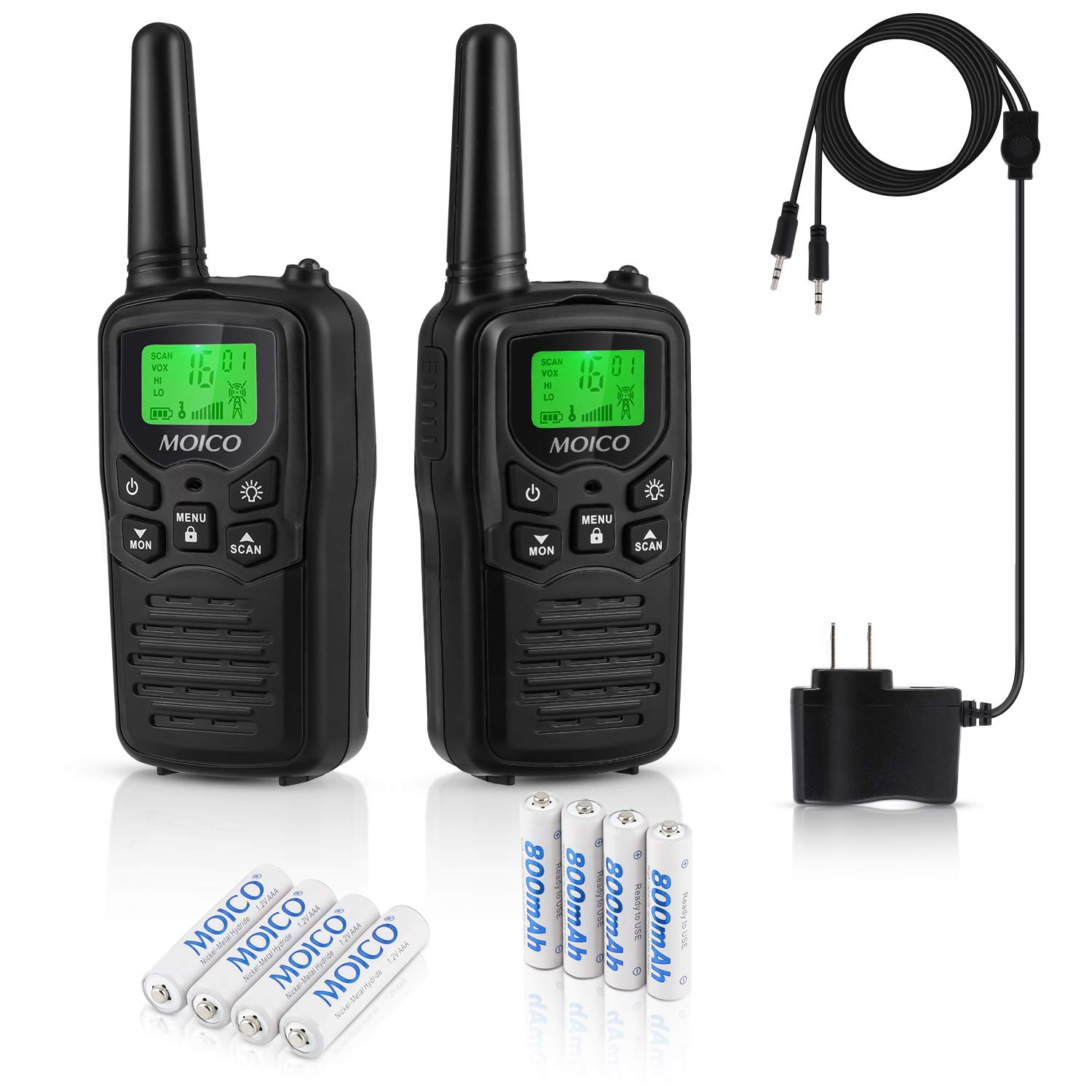 Professional Rechargeable Walkie Talkies,MOICO Long Range Two Way Radios for Adults up to 5 Miles in Open Area,Handheld Talkies Talky with 22Channels FRS/GMRS VOX Scan LCD Display LED Flashlight Black by MOICO