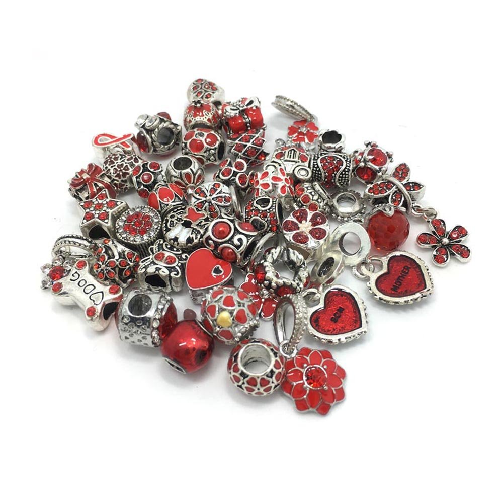 40pcs Large Hole Rhinestone Beads Jewelry Making Charms Assorted Styles Randomly (Red) YIQILOVE