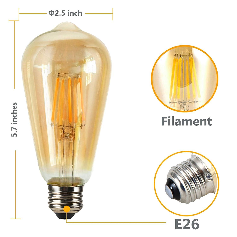 LED Vintage Edison Light Bulbs 60 Watt 2300K Warm White Light bulbs-E26 Medium Base 420 Lumens,Amber Glass-Dimmable Antique Style Filament Bulbs ST64 Light Bulb- 4Pack-6W