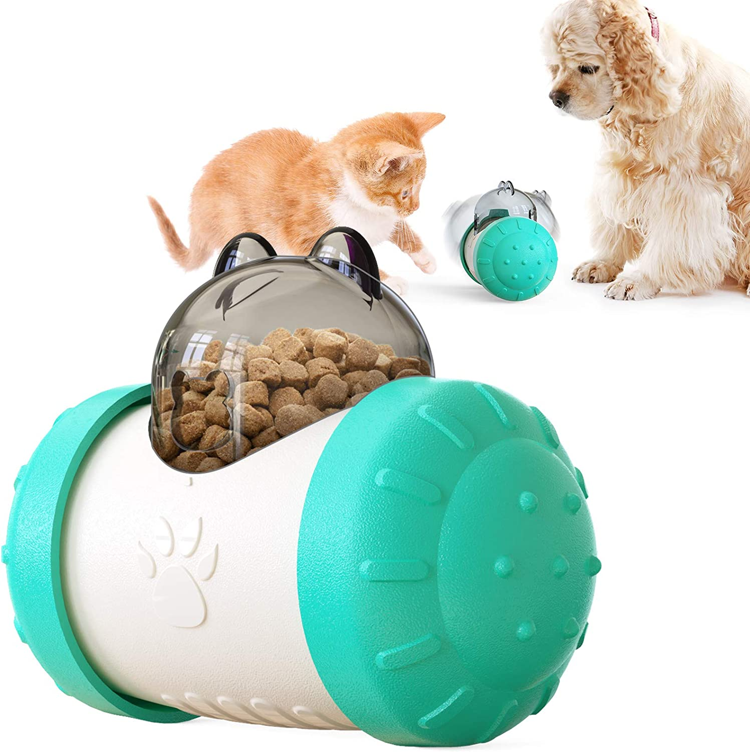 Dog & Cat Treat Dispensing Toy, Food Dispenser Toy, Interactive Puzzle Pet Toy Food Slow Feeder for Puppy and Kitten