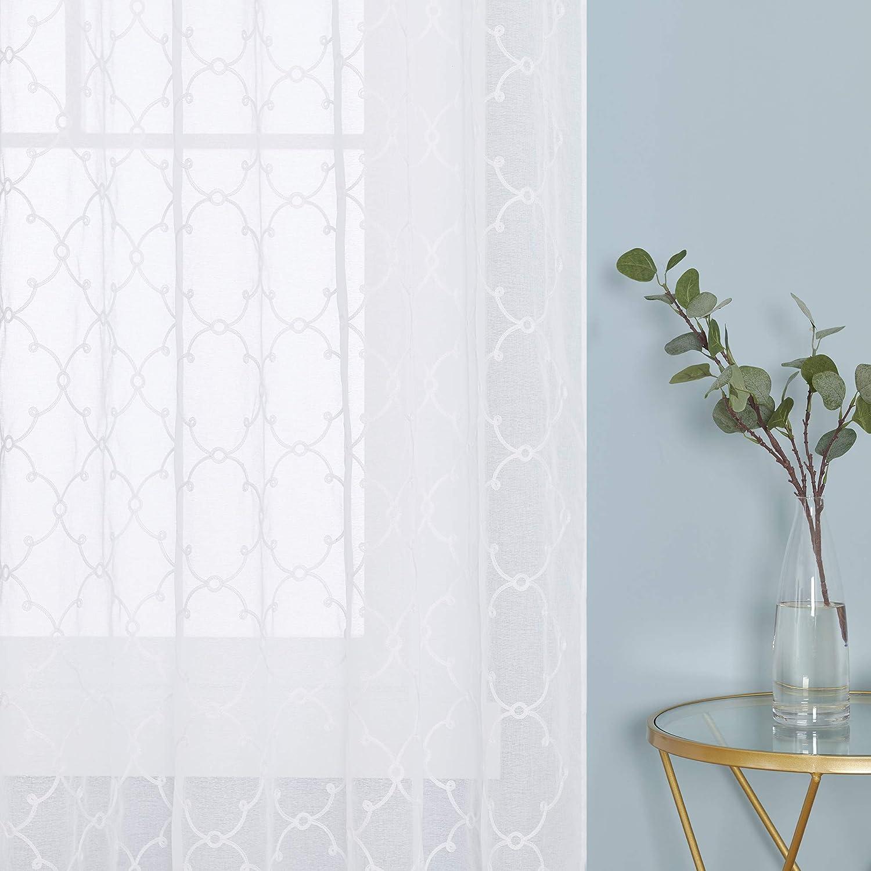 Deconovo Cortinas Visillos para Ventana Cortina Transparente con Ojales para Dormitorio y Salón 2 Piezas 140 x 175 cm Blanco