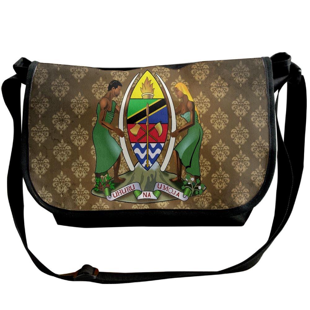 Lov6eoorheeb Unisex Coat Of Arms Of Tanzania Wide Diagonal Shoulder Bag Adjustable Shoulder Tote Bag Single Shoulder Backpack For Work,School,Daily