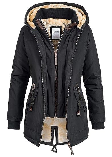 41022ee4f72a5b Seventyseven Lifestyle Damen Winter Jacke Kapuze Teddyfell 2in1 Optik 2  Taschen Storm Cuffs schwarz, Gr