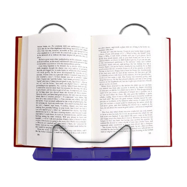 Conveniente Angolo Regolabile Durevole Pieghevole Portatile per Libri di Lettura Stand per Documenti Supporto per scrivania Forniture per Ufficio Rack in Acciaio Inox Base in plastica, Blu FairytaleMM