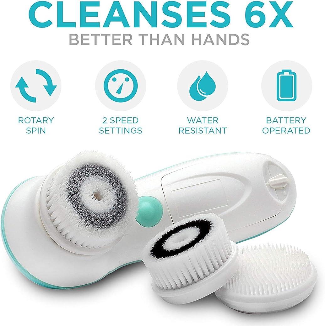 Fancii Cepillo Limpiador Facial Eléctricos con 3 Cabezales Exfoliantes