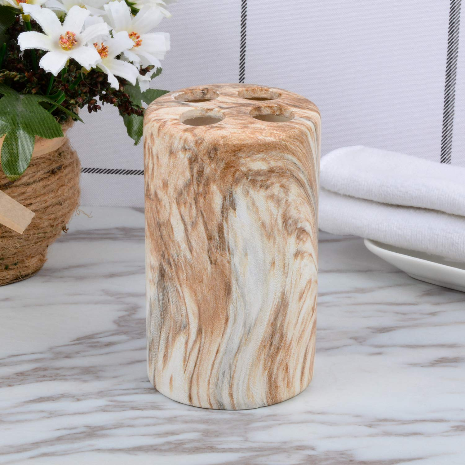 Antique Soap Dish Fimary Ceramic Marble Soap Dish Holder Oval Antibacterial Bathroom Vanity Soap with Unique Texture Keeps Soaps Dry