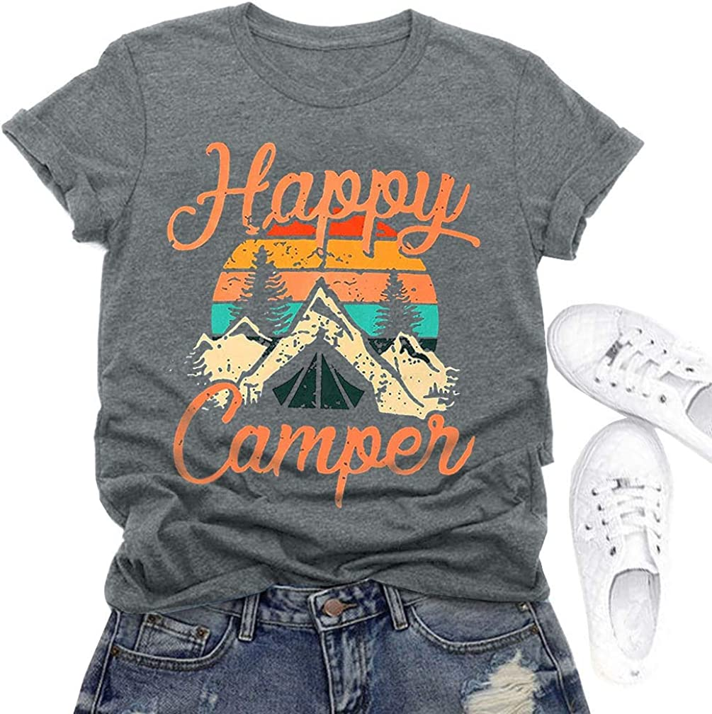 Happy Camper Shirt Tank Tops Women Cute Graphic Tees Summer Hiking Travel Tank Vest at  Women's Clothing store