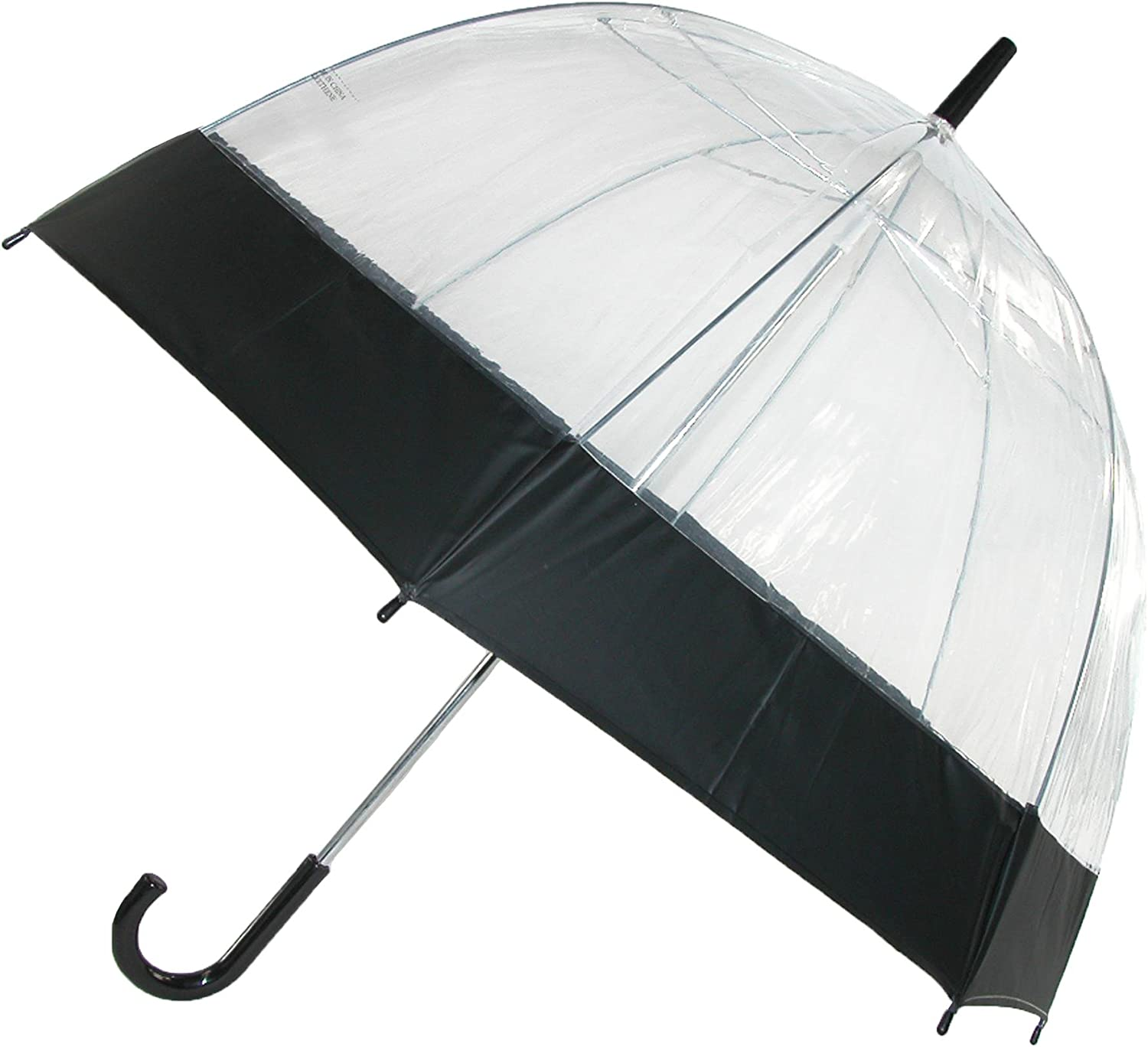 iRain Clear Bubble Dome with Colored Trim Hook Handle Umbrella, Black Trim