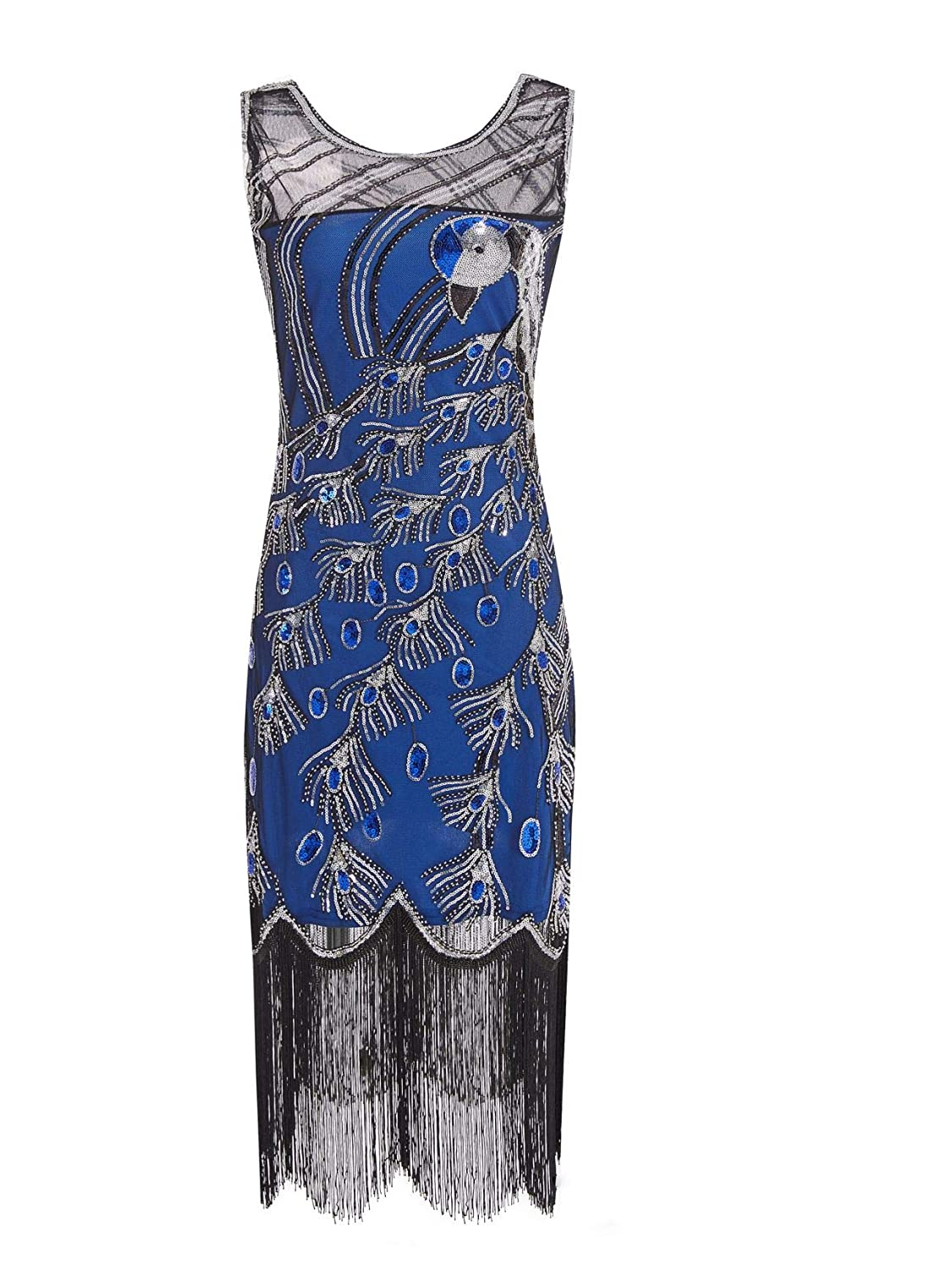 1920s Vintage Peacock Sequin Fringed Party Flapper Dress w 20s Accessories Set