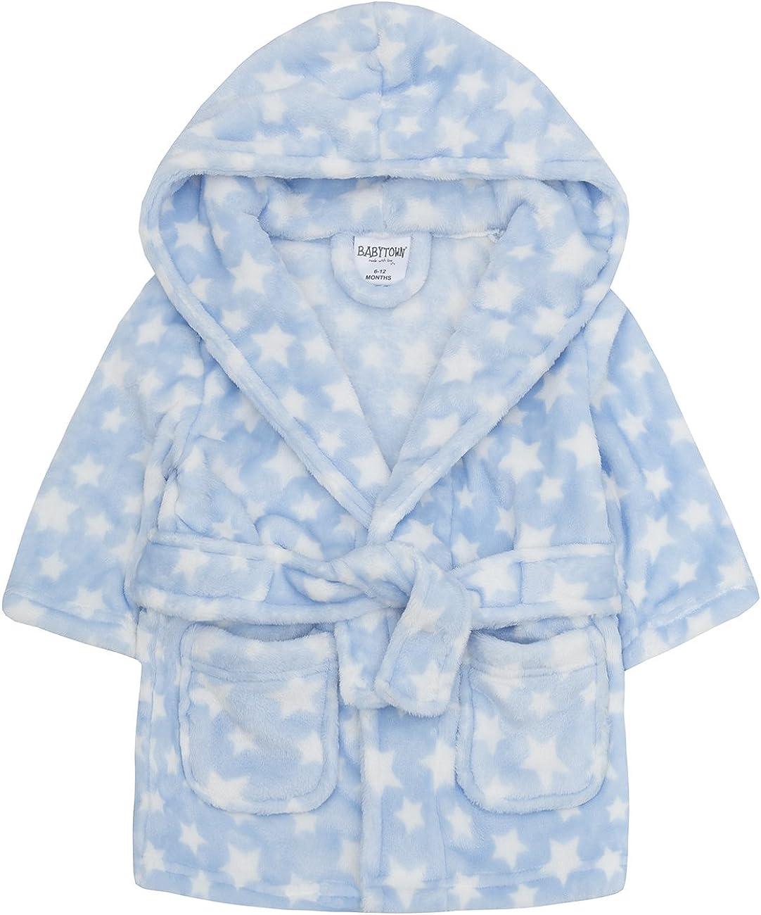 Ages 6-24 Months Soft Plush Flannel Fleece Hooded Bath Robe BabyTown Baby Boys /& Girls Unisex Dressing Gown