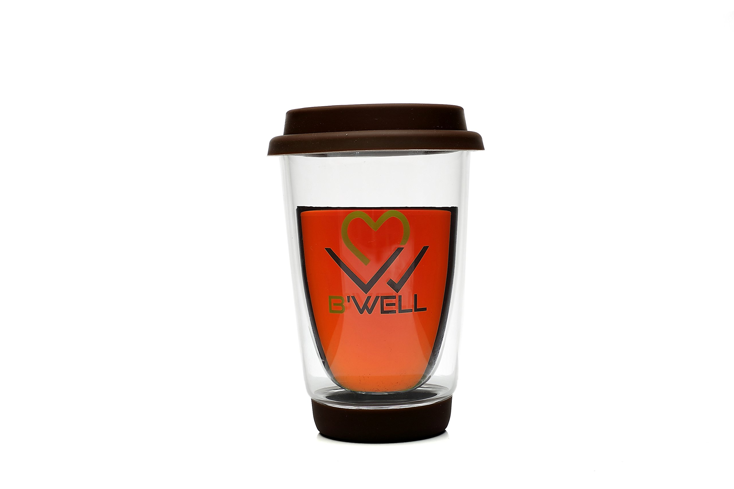 B'WELL Glass Reusable Coffee Cup Tea Cup - Double Wall Insulated Travel Coffee Mug Drinking Glass Tumbler On The Go Mug - Silicone Lid Hot & Cold Drinks Dishwasher & Microwave Safe 12 Ounces (Brown)