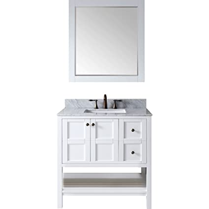 Superbe Virtu ES 30036 WMSQ WH Winterfell Single Bathroom Vanity Cabinet Set,  36u0026quot