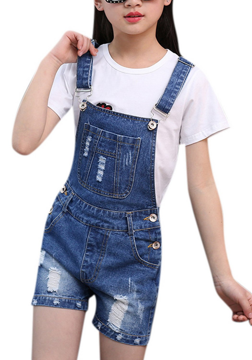Luodemiss Big Girl's Denim Jumpsuit Boyfriend Jeans Cool Fashion Denim Romper Shortalls 8 Blue