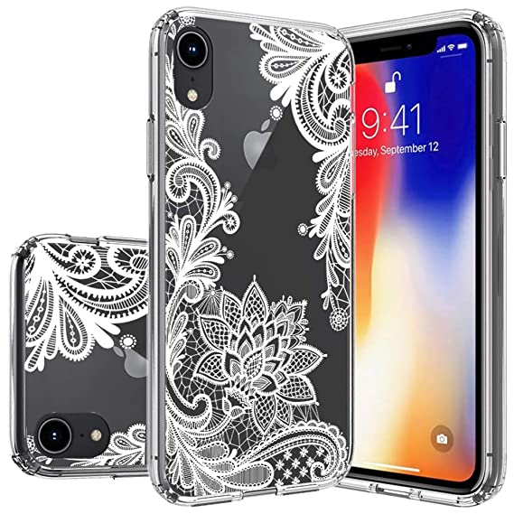 the latest 2f23e e13d6 Huness Apple iPhone XR Case TPU Grip Bumper and Transparent Hard PC  Backplate Hybrid Slim (Clear Flower)