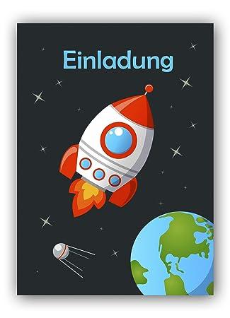 12 Einladungskarten Zum Kindergeburtstag Mit Astronaut Im Weltall
