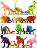 """24 Colorful Dinosaur Toys - Educational Set Of 12 Large 7"""" & 12 Mini 1"""" Plastic Realistic Figure & Playset - T-rex Spinosaurus Triceratops & More - Fun Game Kids Boys & Girls Age 3 + Years Old Gift"""