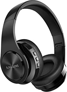 Soulsens Wireless Headphones with 140H Playtime, Wireless V5.0 Headphones, HiFi Stereo Sound, Lightweight Foldable Headset with Mic for Online Class, Home Office, PC, Cell Phones, TV