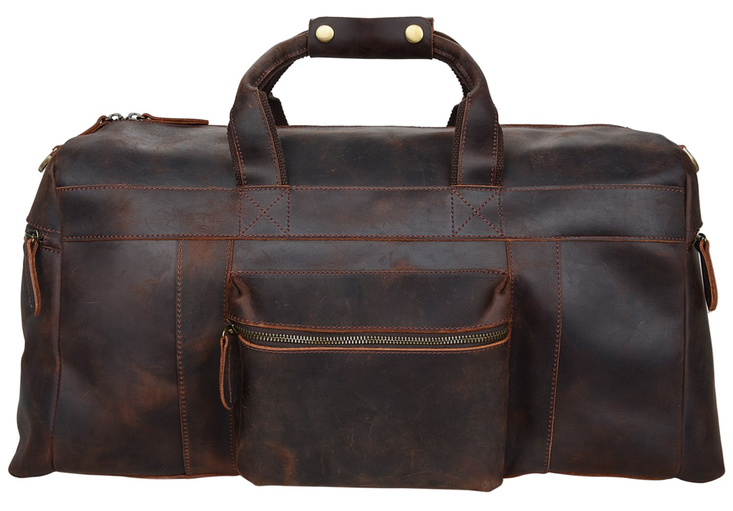 ALTOSY Mens Vintage Crazy Horse Duffel Bag Overnight Travel Carry On Bag Weekend (YD8030, Dark Brown)