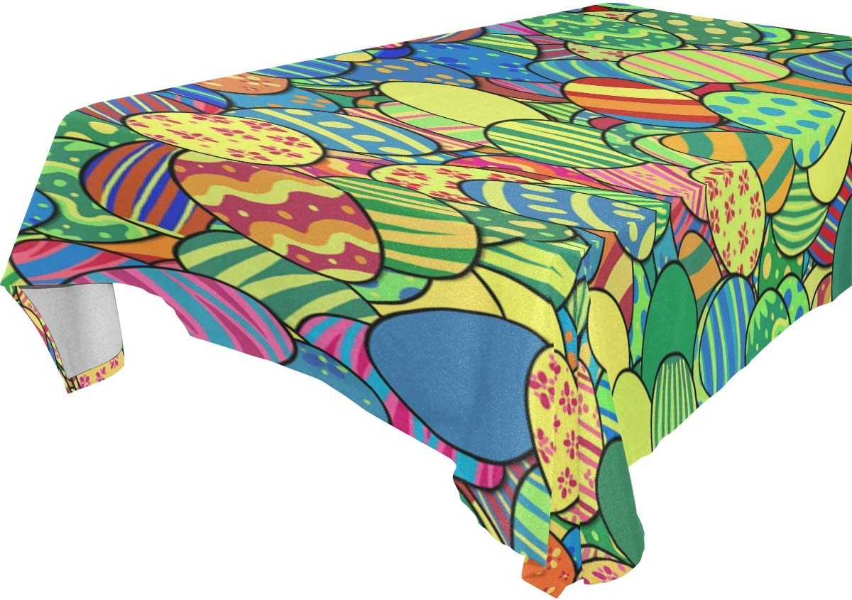 Amazon Com Blueangle Easter Tablecloth Colorful Cartoon Easter Eggs Print Wipe Clean Easy Care Kitchen Dining Room Tablecloth 54 X 72 Rectangular Home Kitchen