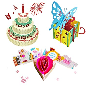 Amazon Com 3d Pop Up Birthday Cards Greeting Handmade Birthday