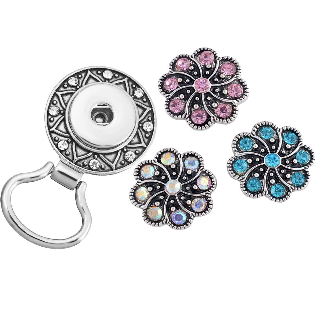 MJartoria Christmas Interchangeable Snap Buttons Centerpiece Rhinestone Eye Glass Holding Magnetic Brooch (Multicolor 1)