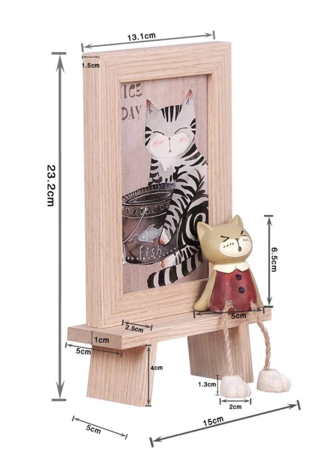 DecentGadget 4X6 Wooden Animal Picture Frame With Artificial Cat (Boy)
