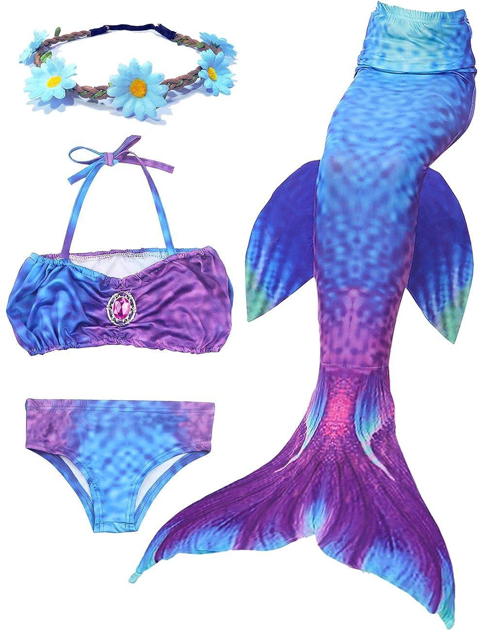 2018 Estate Della Sirena Ultimo Stile ali di Nuoto Ragazza Coda Mermaid Costume Da Bagno Di 3 Confortevoli Bikini Materiale Della tuta Libera invia Corona Bella