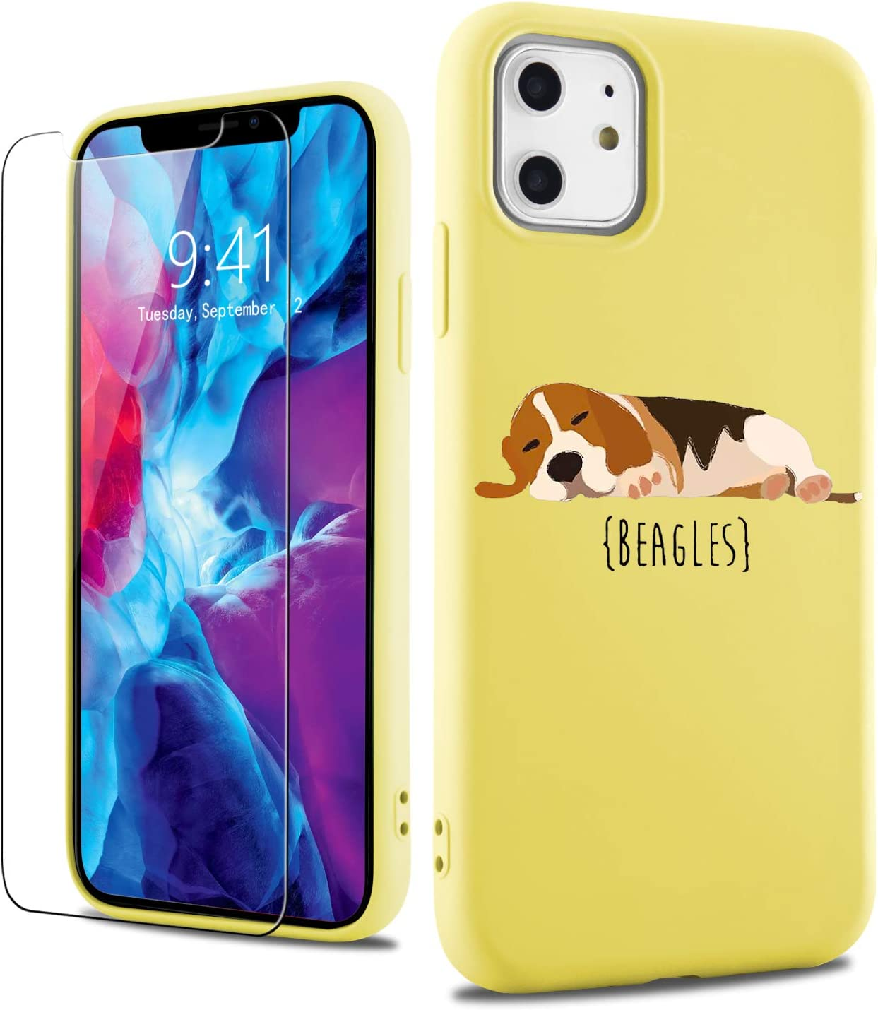 LuGeKe Liquid Silicone Phone Case for iPhoneXR,Beagles Dog Print Gel Rubber Case Cover,Soft Flocking Lining Shockproof Protective Phonecase with Tempered Glass Screen Protector